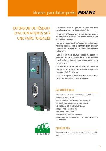 Modem Industriel pour liaisons privées MDM192