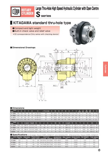 Large thru-hole high speed hydraulic cylinder S series