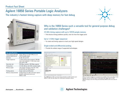 16850 Series Portable Logic Analyzers