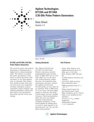 81133A Pulse Pattern Generator, 3.35 GHz, single channel