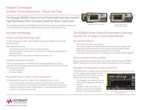 Ion Beam Current Measurement - Product Fact Sheet