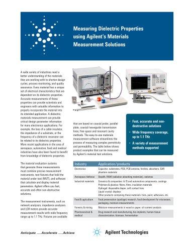Measuring Dielectric Properties using Agilent?s Materials Measurement Solutions