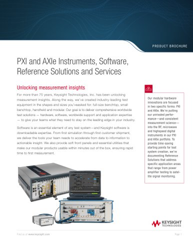 PXI and AXIe Instruments, Software, Reference Solutions and Services