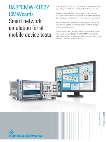 R&S®CMW-KT022 CMWcards Smart network emulation for all mobile device tests