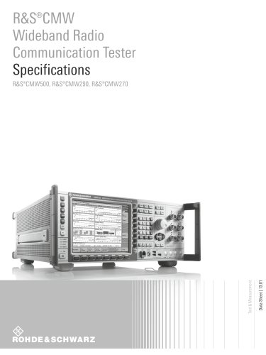 R&S®CMW Wideband Radio Communication Tester Specifications