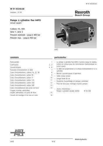 Pompe à cylindrée fixe A4FO, circuit ouvert