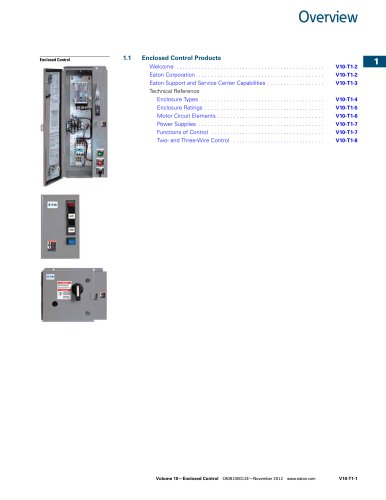 Volume 10, Tab 01 - Enclosed Control Products Overview