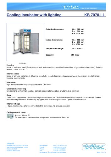 Cooling Incubator with lighting - KB 7070-LL