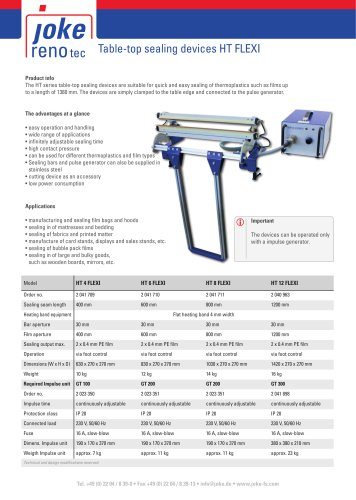 Table-top sealing devices HT FLEX